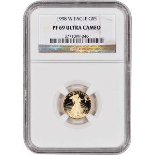 1998 - W American Gold Eagle Proof (1/10 Oz) $5 - Ngc Pf69ucam photo