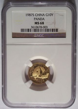 1987 S China Gold Panda 10 Yuan 10y 1/10 Oz Ngc Ms68 Rare photo