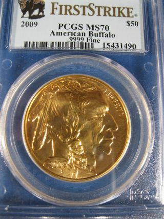 2009 $50.  00 Gold Buffalo Pcgs Ms 70 First Strike  Outstanding Piece photo