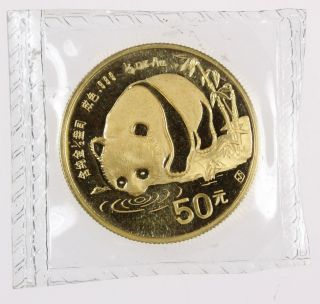 1987 S China 50 Yuan ½ Oz Gold Panda - - photo