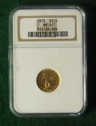 1915 U.  S.  Gold Indian Head $2 - 1/2 Coin,  Ngc Ms61 - Quarter Eagle - photo