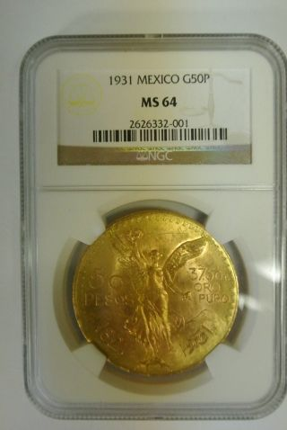 Mexican 50 Peso Gold Coin 1931 Ms 64 Ngc G50p Centenario - Rare [227] photo