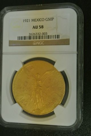 Mexican 50 Peso Gold Coin 1921 Au58 Ngc G50p Centenario 1.  2oz Pure Gold Content photo