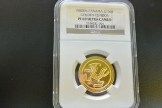 1980 Fm Panama G100b Golden Condor Pf69 Ngc Ultra Cameo Gold Coin 100 Balboas photo
