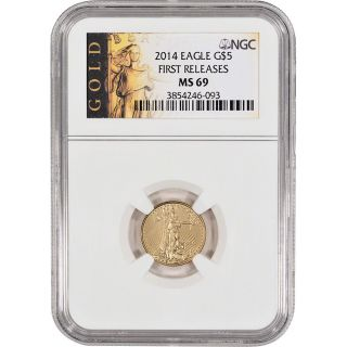 2014 American Gold Eagle (1/10 Oz) $5 - Ngc Ms69 - First Releases - Gold Label photo