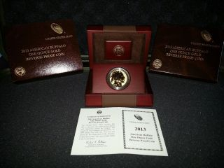 2013 1oz American Buffalo Gold Reverse Proof Coin And Certificate photo