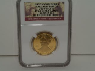 2009 - W Margeret Taylor First Spouse $10 Gold Pf69 photo