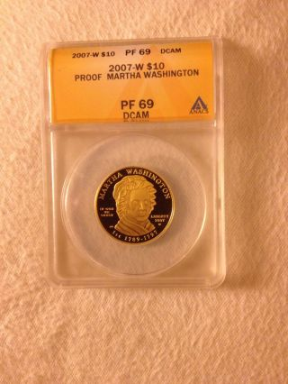 2007 - W 1/2 Oz Gold $10 First Spouse Martha Washinton Anacs Pf69 Pf - 69 2008 Coin photo