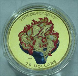 Canada 2010 Olympics $75 Dollars Gold Coin Color Olympic Spirit photo