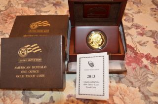2013 W Collectible $50 1 Oz Proof Buffalo Gold Coin Includes Box/coa Low Mintage photo