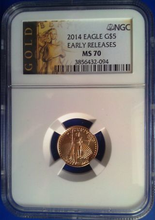 2014 Ngc Ms70 1/10oz $5 American Eagle Gold Coin Early Releases Luster photo