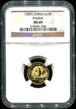 1987 S Chinese Gold Panda 10 Yuan Ngc Ms - 69 1/10 Oz Fine Gold Tough Year photo