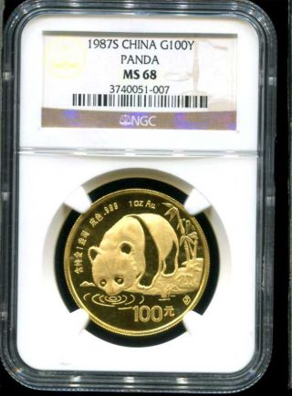 1987s Chinese Gold Panda 100 Yuan Ngc Ms - 68 1 Oz Fine Gold Tough Year photo