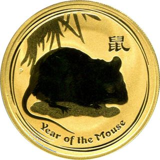 2008 Year Of The Mouse Lunar Series 2 Australian 1 Oz. .  9999 Fine Gold photo