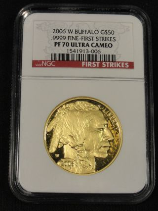 2006 W Buffalo Gold $50 Dollar Coin.  9999 Fine First Strike Ngc Pf70uc 3 - 006 photo