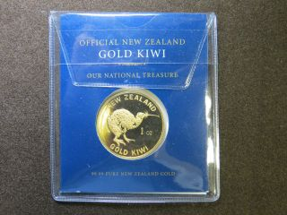 1 Oz Gold Kiwi Zealand Coin 99.  99 Pure Plastic Pouch One Ounce Aotearoa photo