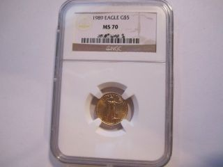 1989 1/10 Oz $5 Gold Eagle Ms 70 - 1 In Ngc Registry photo
