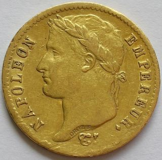 1812 W France Gold 20 Francs Coin Emperor Napoleon Bonaparte photo