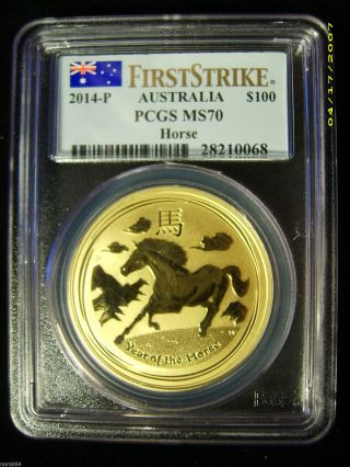 2014 - P G$100 Australia Year Of The Horse Gold 1 Oz.  - Pcgs Ms70 First Strike photo