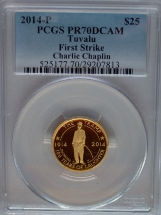 Pcgs Registry 2014 Tuvalu Charlie Chaplin Pr70 $25 Gold Coin 1/4 Oz First Strike photo