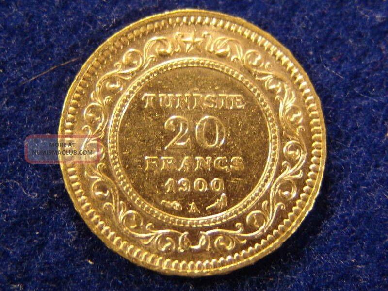 Rare Tunisia 20 Franc 1900 Gold Coin Minted In Paris