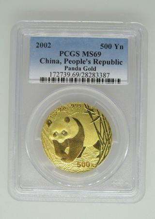 2002 Pcgs Ms69 China People ' S Republic -.  999 Gold Panda - 500 Yn - One Ounce - 1 Ozt photo