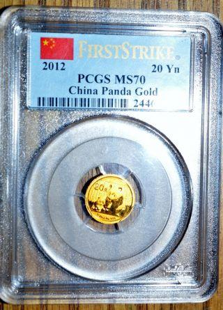 2012 Pcgs Ms70 20 Ynchina Gold Panda - One Of First 15,  000 - 1/20 Oz Gold Pandas photo