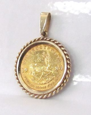 14k Yellow Gold Coin Pendant & 1/10 Oz.  Fine Gold 1984 South African Krugerrand photo
