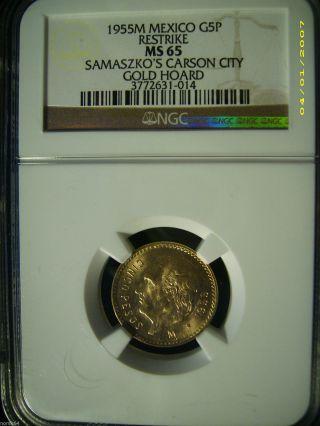 1955m Mexico G5p Gold 5 Pesos - Ngc Ms65 Pq - Samaszko ' S Carson City Gold Hoard photo