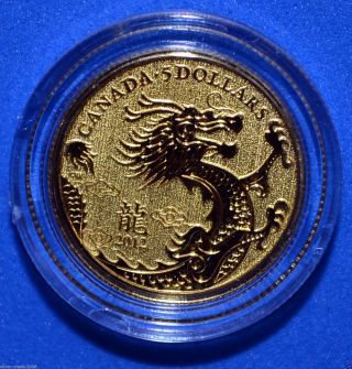 2012 Canada Year Of The Dragon 1/10 Oz $5 Pure Gold Coin & photo