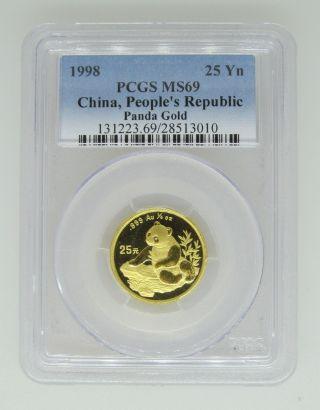 1998 Pcgs Ms69 China People ' S Republic.  999 Gold Panda - 25 Yn 1/4 - Very Rare photo