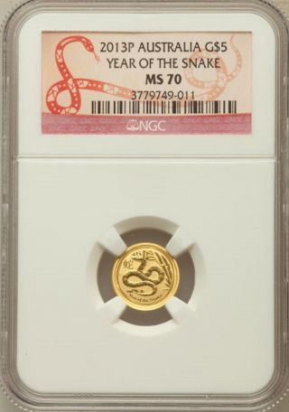 2013 - P G$5 Year Of The Snake Australia Ms70 Ngc photo
