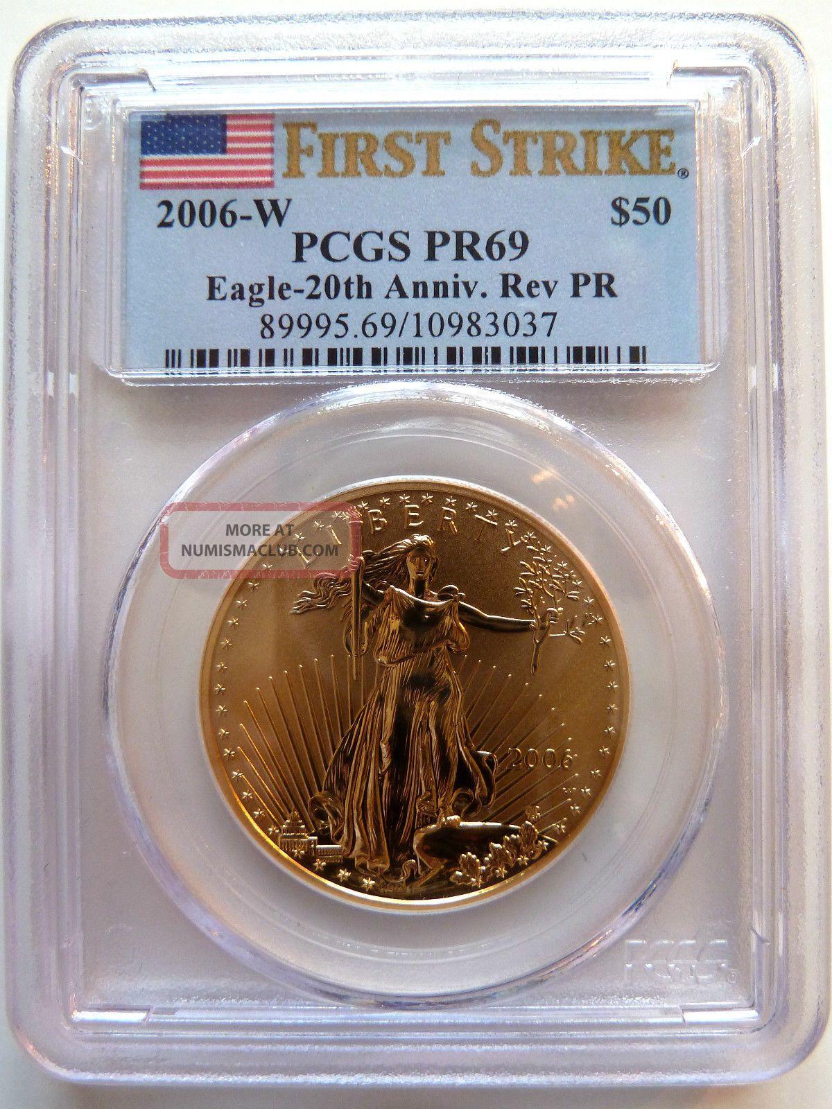 2006 - W $50 Pcgs Pr69 Fs Gold American Eagle 20th Anniv.  Reverse Proof 1 Oz. Gold photo