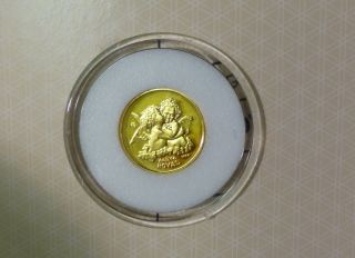 1998 British Colony Gibraltar 1/25 Royal Pure Gold Coin Angel Cherub Kissing photo
