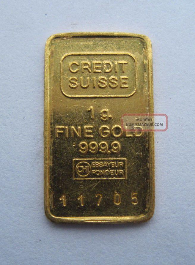 1 Gram 999 9 Fine Gold 24k Pure Credit Suisse Bar Bullion