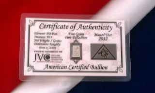 (acb) Palladium With Solid 5grain Solid Bullion Minted Bar 99.  9 Pure Pd ', photo