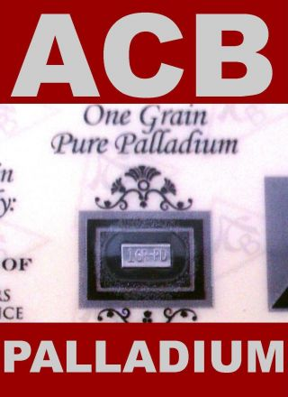 Acb Palladium 1grain Bar With Certificate Solid 99.  9 Pure Pd Bullion Minted photo