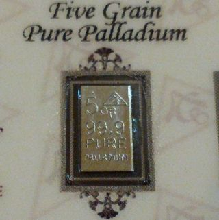 For Palladium 99.  9 Pure 5grains Precious Metal Acb Bullion Pd Bar photo
