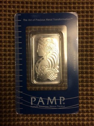 1 Oz Pamp Suisse Palladium Bar (w/ Assay).  999+ Fine - photo