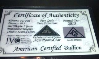 Certificate Acb Pyramid Palladium 5grain Bullion Minted Bar 99.  9 Pure. photo