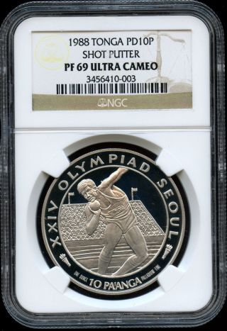 1988 Tonga Olympiad Shot Putter 1oz Palladium Ngc Pf69 Ultra Cameo photo