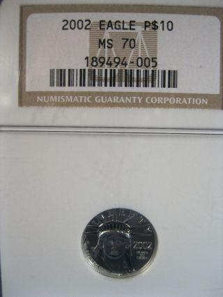 2002 Eagle $10 Ngc Ms 70 Platinum photo