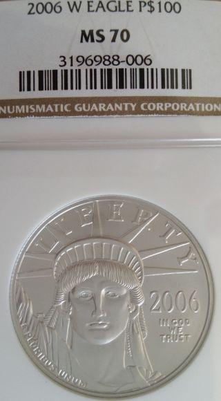 Burnished 2006 - W Rare Ms70 $100 Platinum Ngc Ms 70 photo