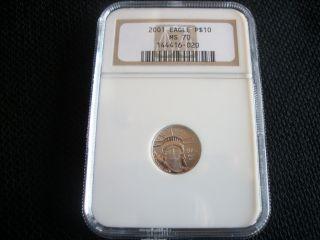 2001 $10 Platinum Eagle Ms70,  Ngc photo