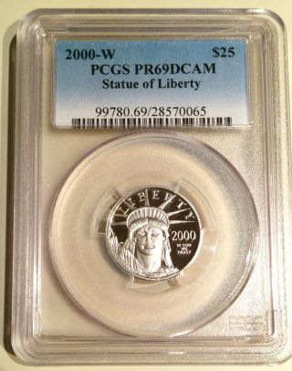 2000 - W Proof $25 American Statue Of Liberty 1/4 Ounce Platinum Pcgs Pr 69 Dcam photo