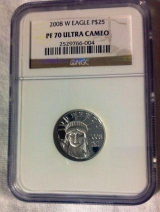 2008 W $25 Platinum Eagle Ngc Pf70 Ultra Cameo photo