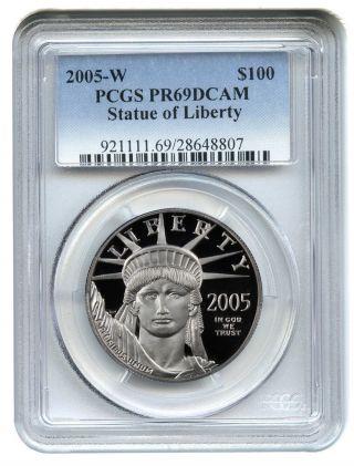 2005 - W Platinum Eagle $100 Pcgs Proof 69 Dcam Statue Liberty 1 Oz photo