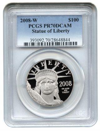2008 - W Platinum Eagle $100 Pcgs Proof 70 Dcam Statue Liberty 1 Oz photo