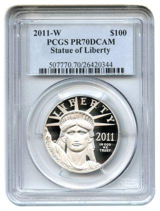 2011 - W $100 Pcgs Pr70 Dcam - Statue Liberty 1 Oz Platinum Eagle photo