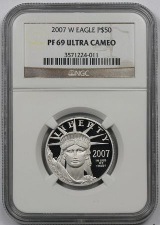 2007 - W Half - Ounce Platinum American Eagle $50 Proof Pf 69 Ultra Cameo Ngc photo